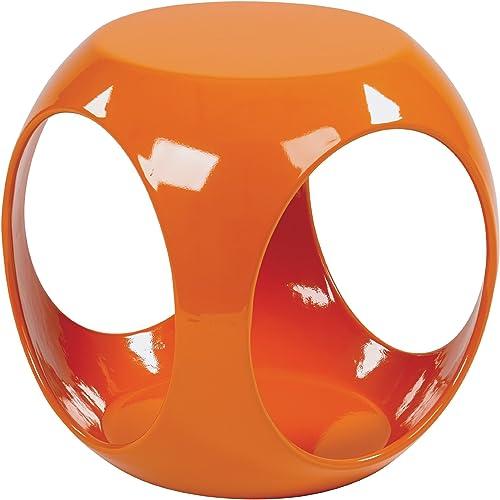 OSP Home Furnishings AVE SIX Slick High Gloss Finish Cube Occasional Table, Orange