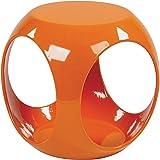OSP Home Furnishings Slick High Gloss Finish Cube Occasional Table, Orange