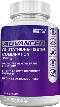 Advanced Glutathione Fisetin Combination Supplement - 500mg (Similar to Apigenin & Quercetin) Senolytic & Sirtuin Activator - Anti-Aging & Anti-Inflammatory – Supports Brain, Skin, Immunity - 30CT