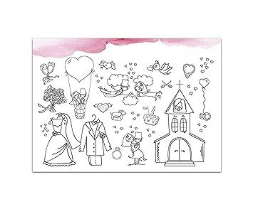 10 Platzsets Zum Ausmalen Hochzeit Aquarell Rosa Amazon De Kuche