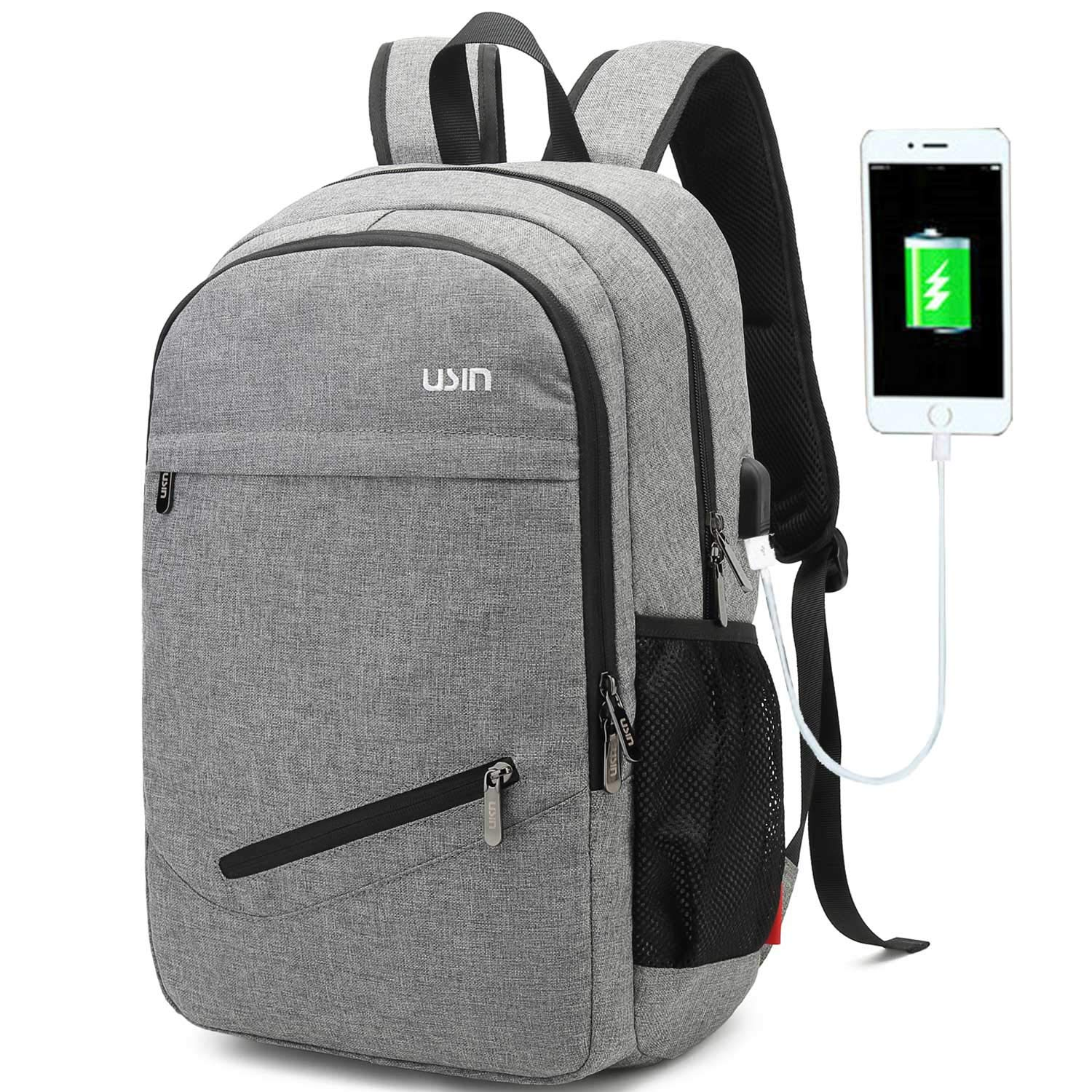 USIN Laptop Backpacks Fits 15 15.6 inch Water Repellent College Computer Backpacks with USB Charging Port for Men Women, grey