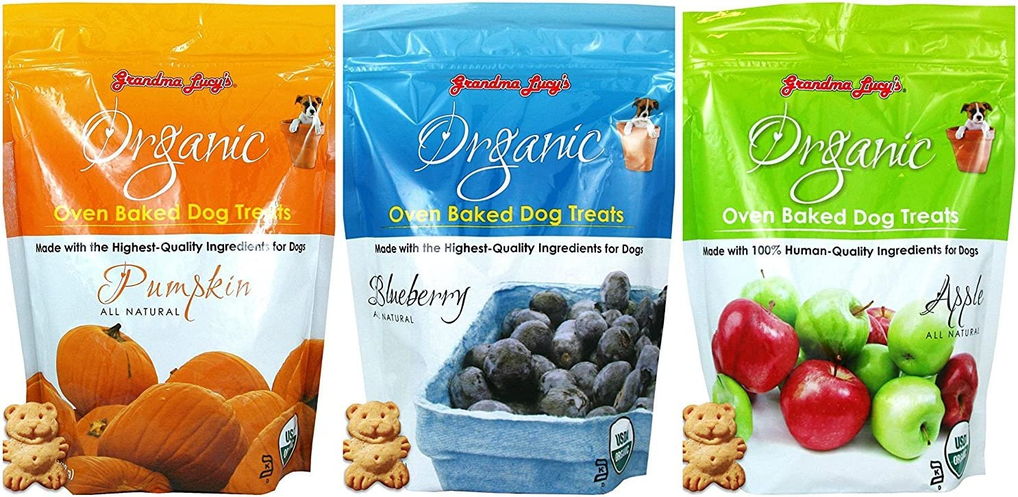 Grandma Lucy's Organic Baked Dog Treats, Mixed 3 Packs 14 oz. ea. - Apple, Pumpkin and Blueberry Flavors. Fast Delivery, by Just Jak's Pet Market