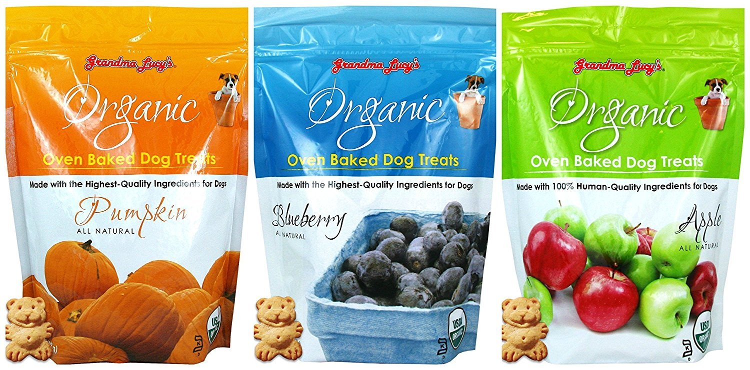 Grandma Lucy's Organic Baked Dog Treats, Mixed 3 Packs 14 Oz ea. Apple, Pumpkin and Blueberry. Fast Delivery!!!