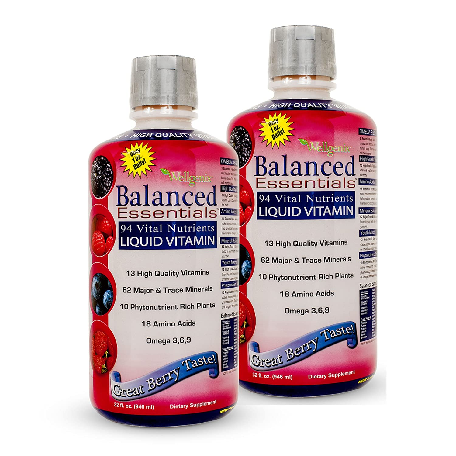 Wellgenix WGXBALLESS32X2 Balanced Essentials Liquid Minerals and Vitamins Multivitamins Very Berry 32 oz, 2 Bottles Pack of 2