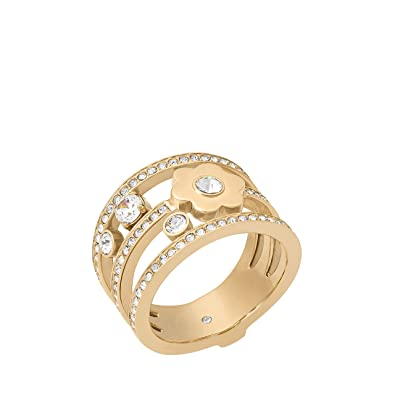 Michael Kors In Full Bloom Floral and Crystal Accent Stacked Ring (Rose Gold) Ring BoPD8ydO
