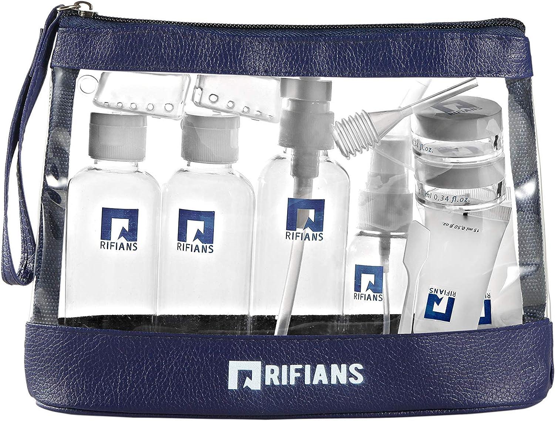 Frasco vacío de viaje para avión – Kit de 13 unidades de alta calidad – sólido y práctico, botellas de viaje autorizadas en cabina – Incluye bolsillo con cremallera transparente 20 x 20 cm