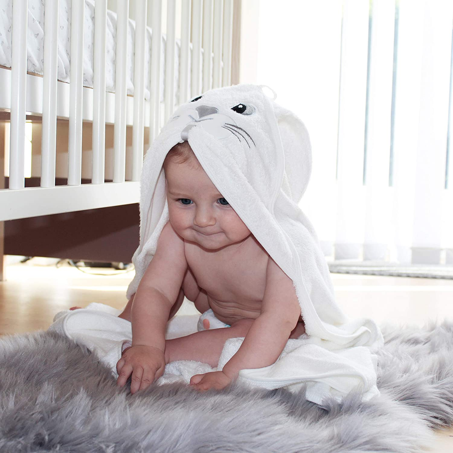 Bamboo Hooded Baby Towel Set – Bunny Design | Baby Bath Hood Towels with Baby Safety Blanket Unisex – Organic Bamboo Perfect Gift for Boys and Girls - Soft for Newborns, Infants and Babies