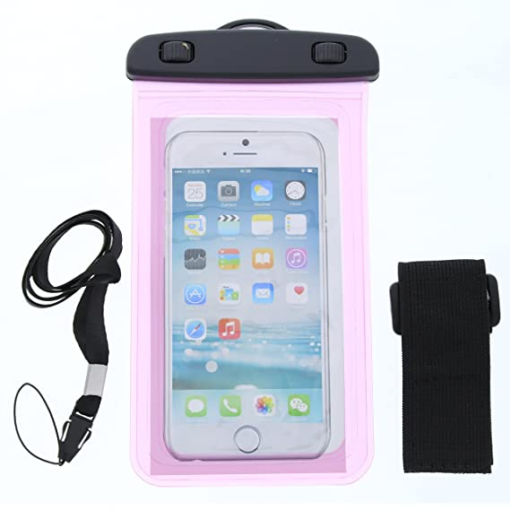 new concept 00b10 a404d Amazon.com: Pink Waterproof Phone Carrying Pouch with Arm Strap and ...