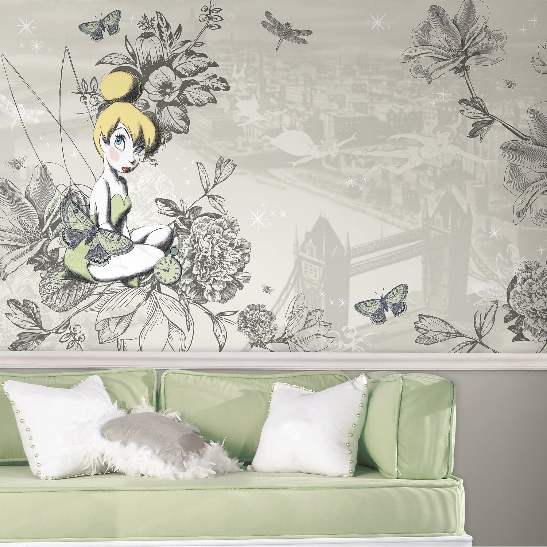 RoomMates Disney Fairies - Vintage Tinkbell Removable Wall Mural - 10.5 feet X 6 feet