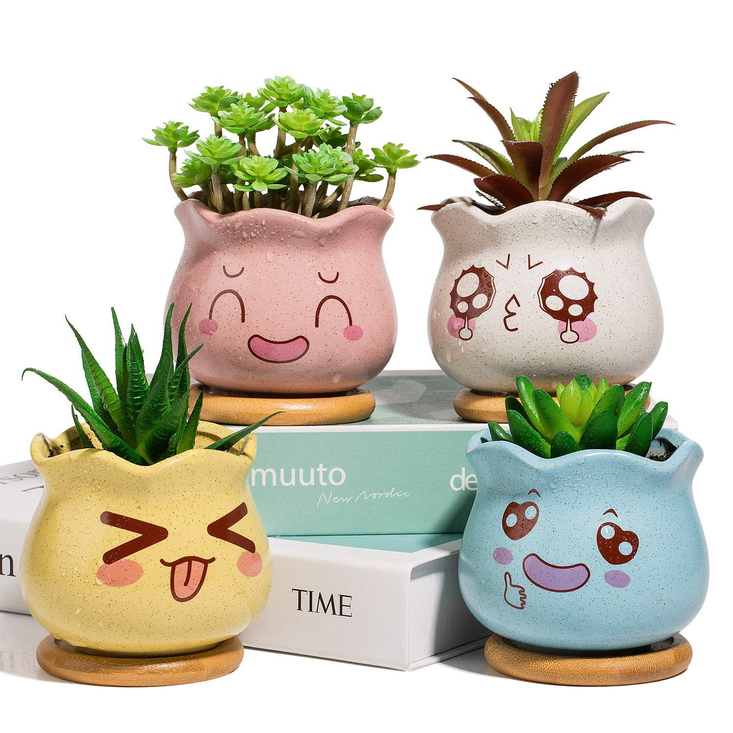 Yangbaga 3.5inch Ceramic Succulent Planter, Succulent Pots and Cactus Pot with Bamboo Tray and Drainage Hole for Home and Office Decoration, Facial Expression Design, Pack of 4