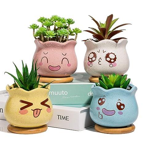 Vasi Per Piante Grasse.Yangbaga Mini Vasi Da Fiori Con Sottobicchieri In Ceramica Per Piante Grasse Vasi Decorativi Vasi Per Piante Di Cactus Con Sottobicchieri In Bambu Set