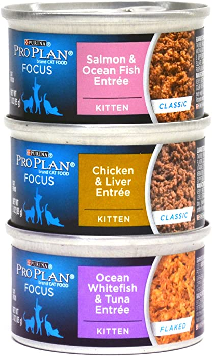 Purina Pro Plan Focus Canned Cat / Kitten Food Variety Pack Box - 3 Flavors, 3-Ounce Cans (12 Total Cans - 4 of Each Flavor)