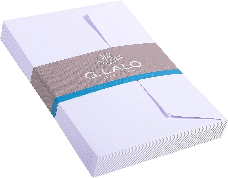 wei/ß G.Lalo 46700L Umschl/äge V/élin de France selbstklebend, DL, 11 x 22 cm, 20 Umschl/äge, 100 g