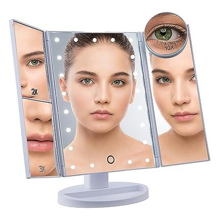 Amazon.com : NorthEZ LED Lighted Vanity Makeup Mirror, Tri-Fold Portable Cosmetic Light Up Mirror, 2X/3X Magnification, 10X Magnifying Bonus Mirror, ...