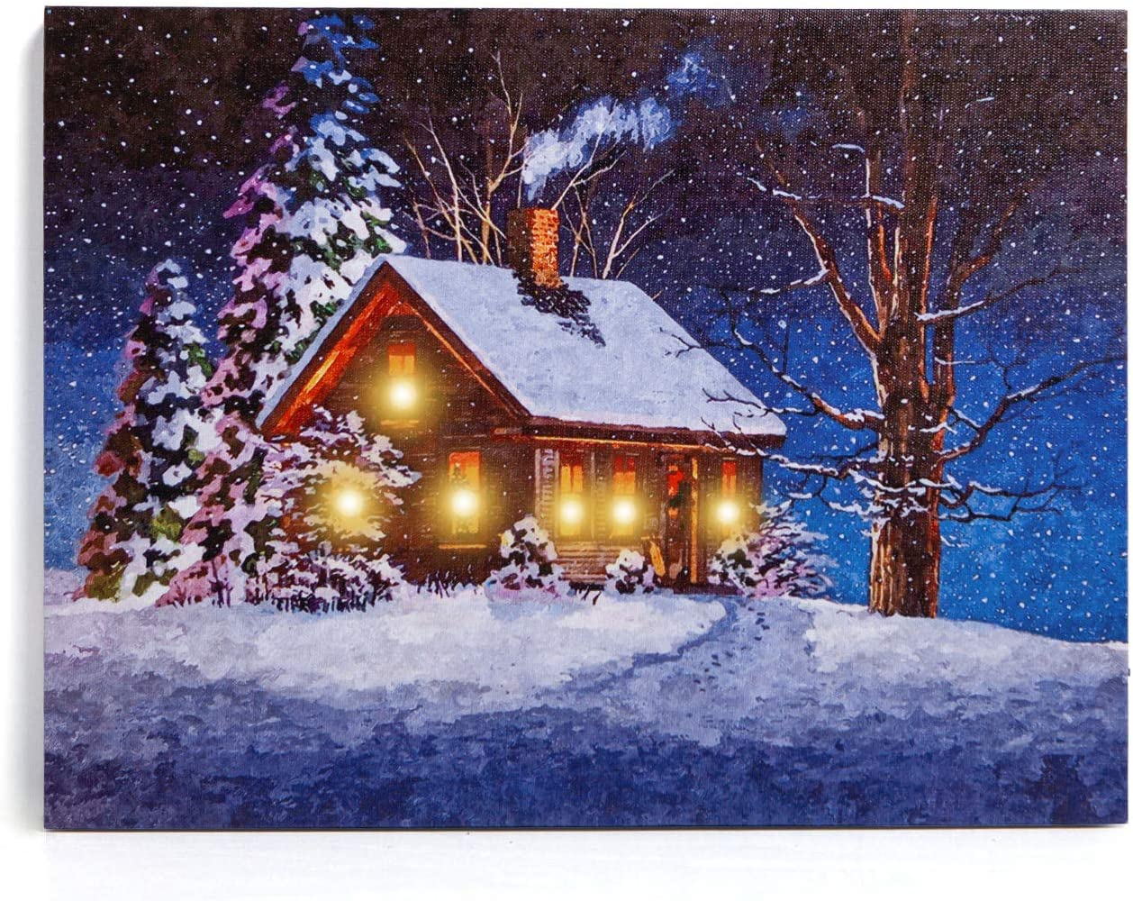 Amazon Com Nikky Home 16 X 12 Christmas Led Lighted Canvas Wall Art Prints Picture For Holiday Decor Snow House Posters Prints