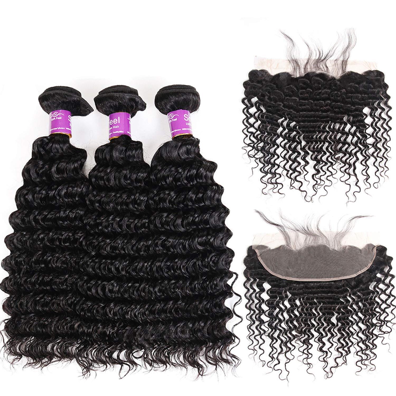 SHILINWEI Brazilian Deep Wave Bundles With Frontal Remy Human Hair Bundles With Frontal Lace Frontal Closure With Bundles,14 16 16 & Closure12,Natural Color,Middle Part