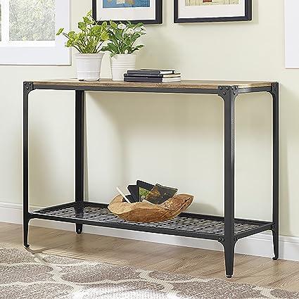 Amazoncom Angle Iron Rustic Wood Sofa Entry Table Barnwood