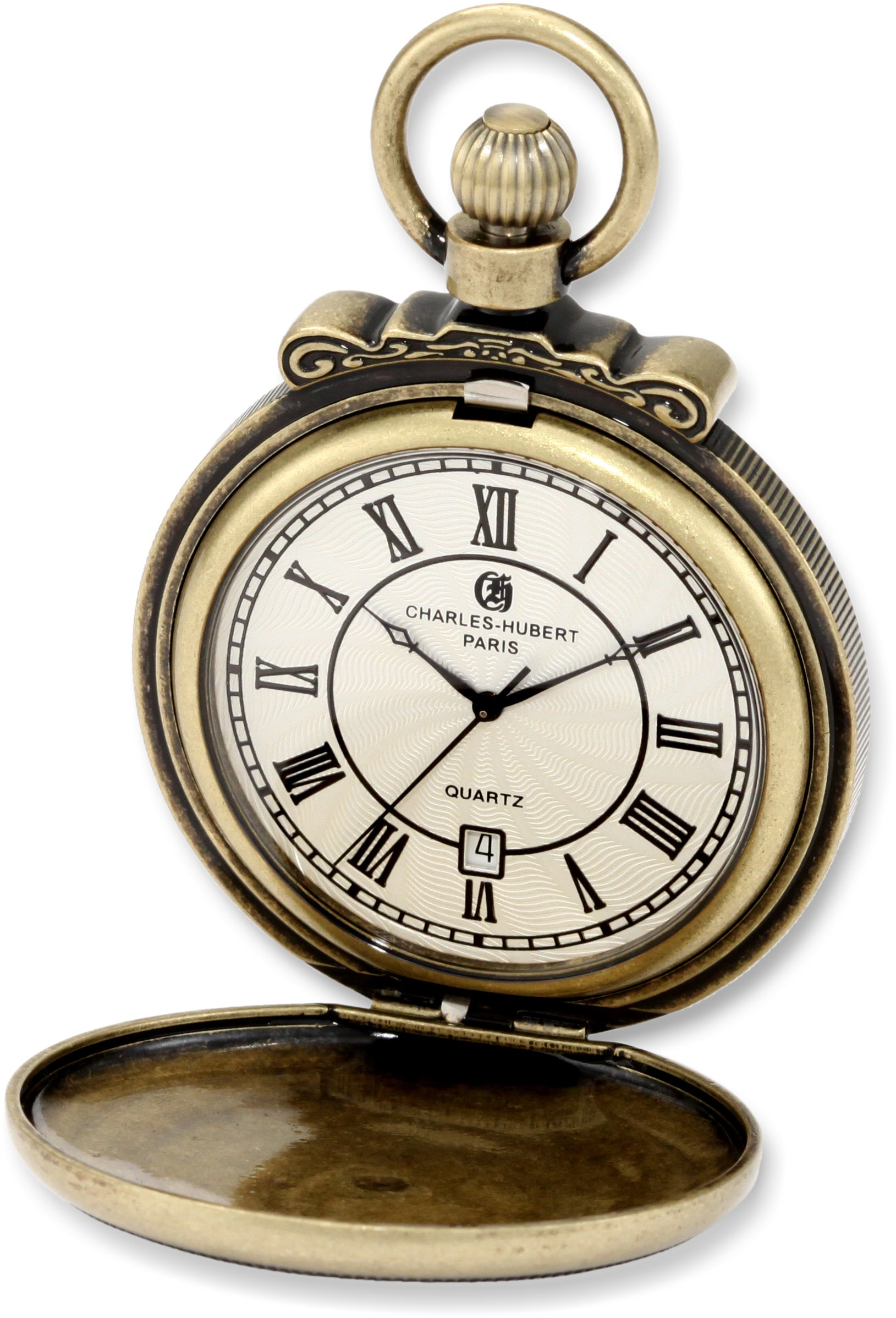 Charles-Hubert Paris 3863-G Classic Gold-Plated Antiqued Finish Quartz Pocket Watch