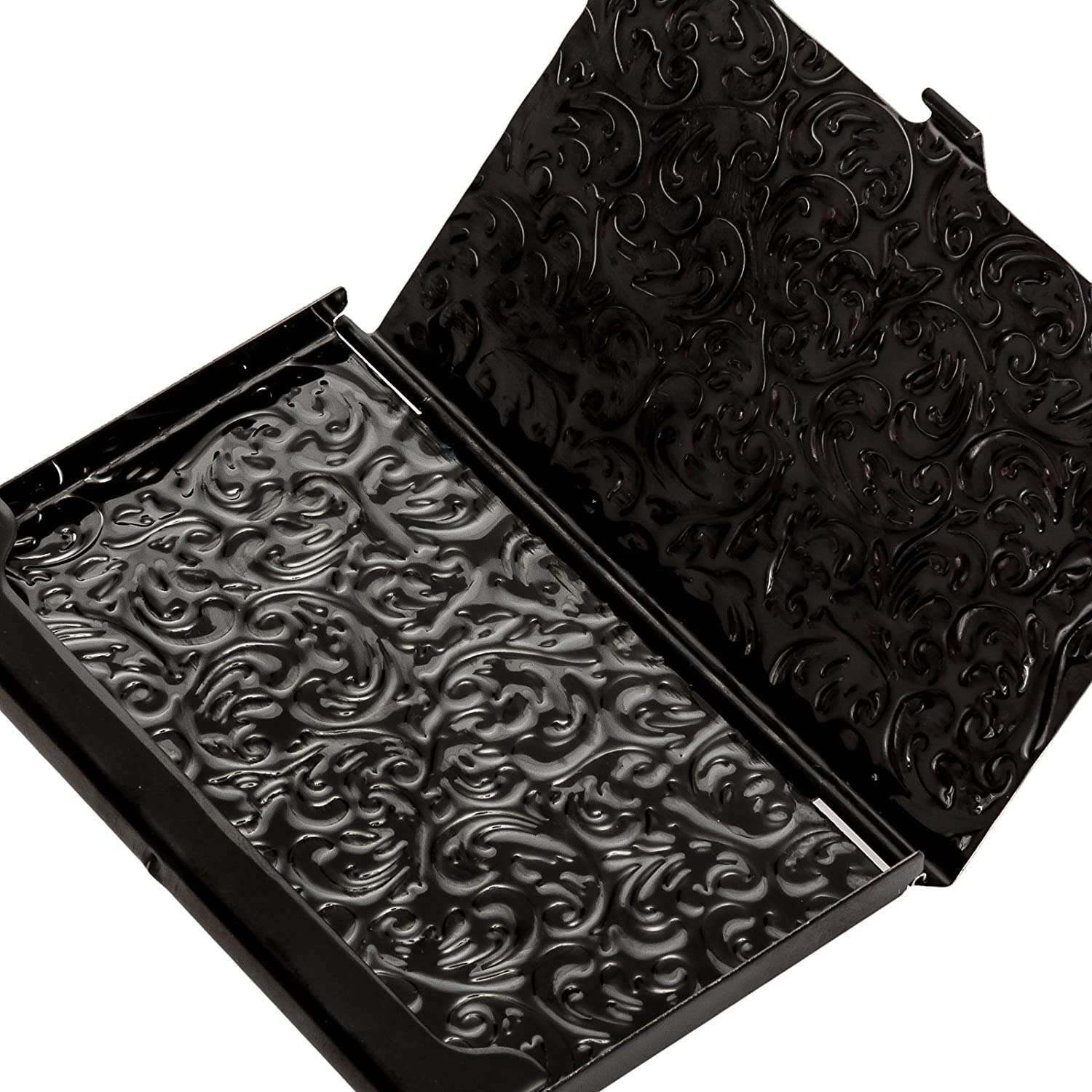 metal damask embossed business card case black at women s