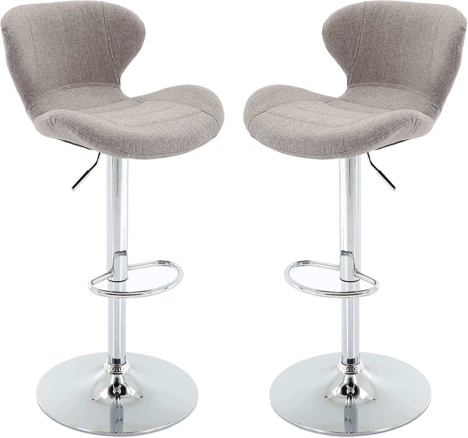Vogue Furniture Direct Adjustable Upholstered Barstool, Grey Set of 2 VF1581026