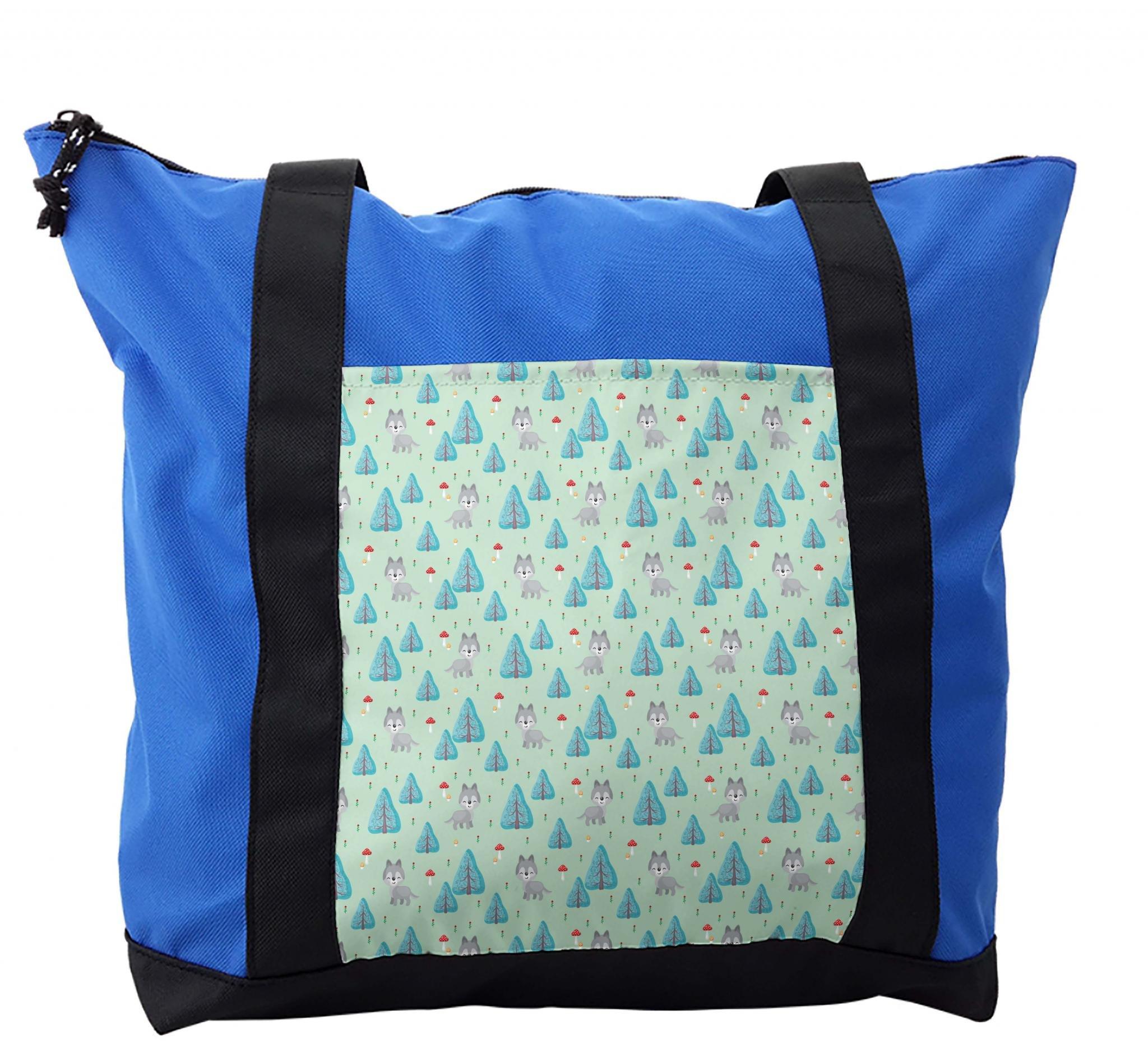 Lunarable Forest Shoulder Bag, Nursery Style Kids Animals, Durable with Zipper