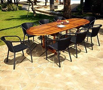 Salon de Jardin Table Teck 240 cm et 8 fauteuils en résine Noire ...