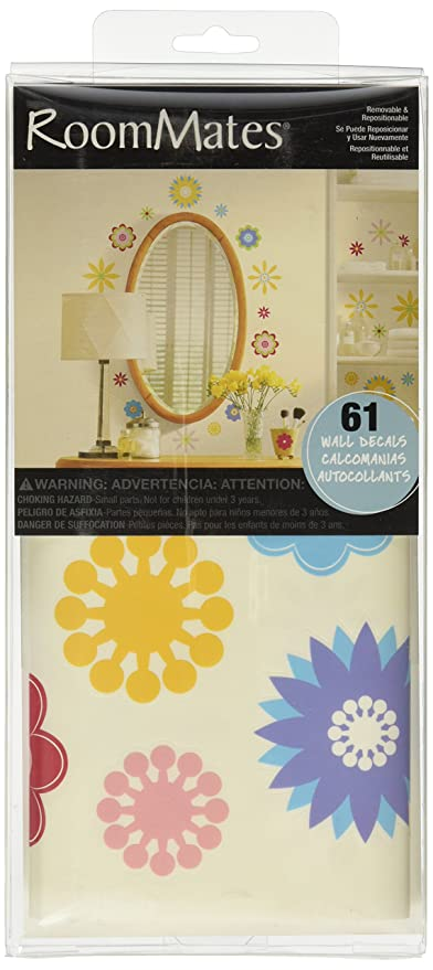 RoomMates RMK1170SCS Graphic Flowers Peel & Stick Wall Decals, 61 ...