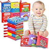 Tencoz Baby Cloth Books, My First Non-Toxic Soft Clothing Books Early Educational Toys Gifts Activity Crinkle Cloth Book…