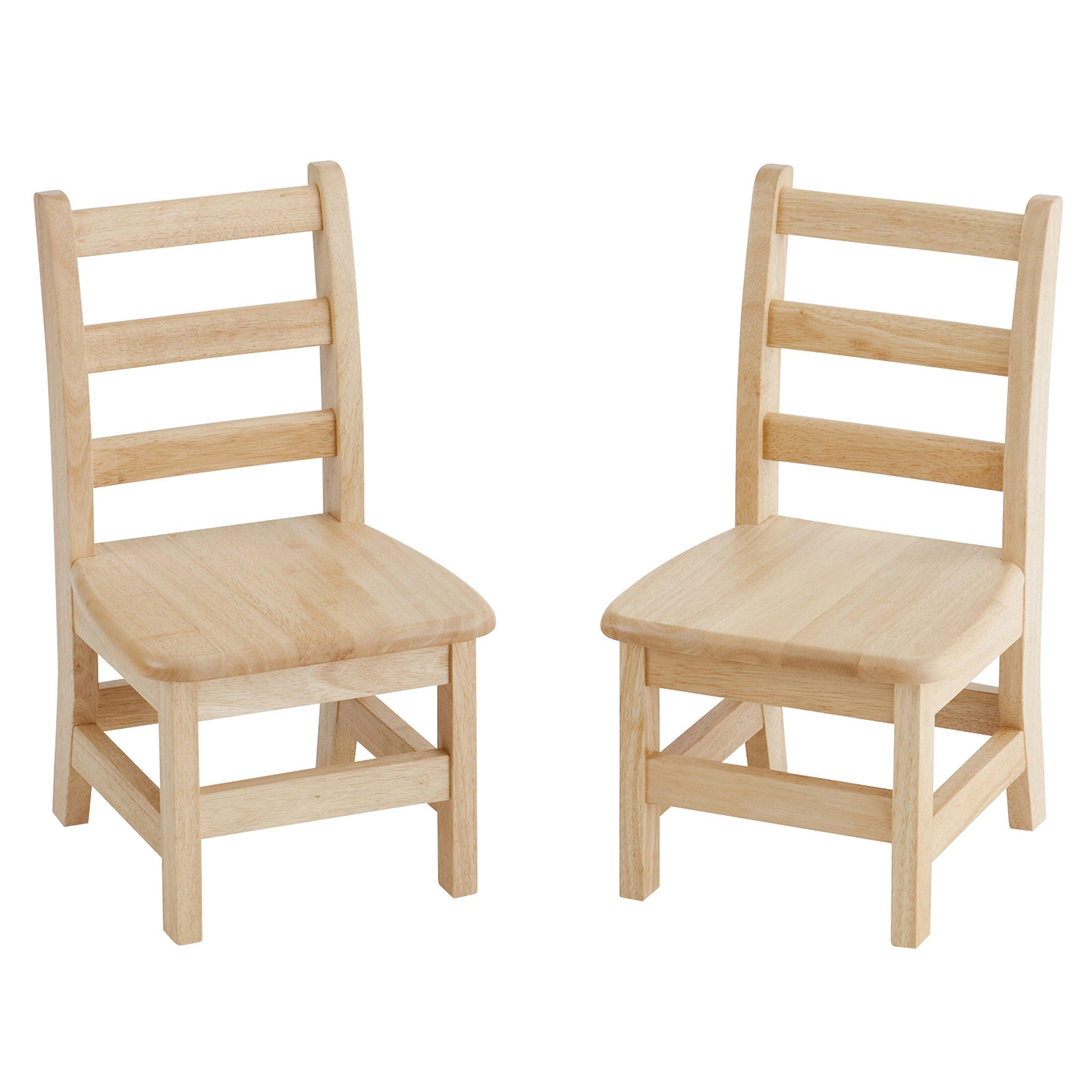 ECR4Kids 10'' Hardwood 3-Rung Ladderback Chair, Natural (2-Pack)