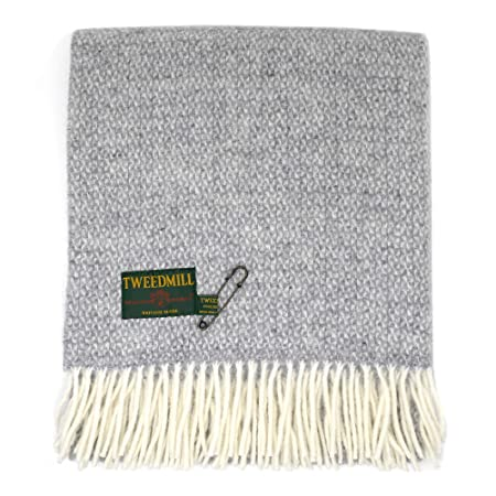 5ed3d4c868 Tweedmill Textiles 100% Pure Wool Blanket Illusion Design in Soft Grey Made  in the UK  Amazon.co.uk  Kitchen   Home