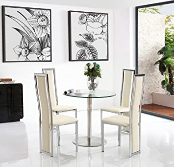 Modern Furniture Direct Target 80cm Round Steel Glass Dining Table