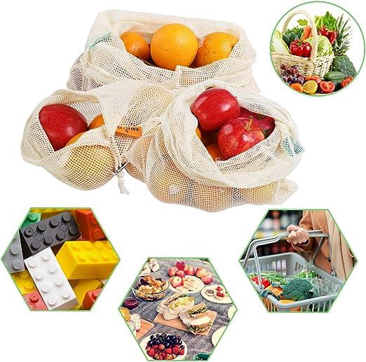 10 bolsas reutilizables para productos, bolsas de malla de algodón ...