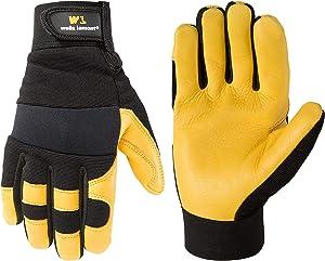 Men's Deerskin Leather Palm Hybrid Work Gloves (Wells Lamont 3210M), Medium, Black