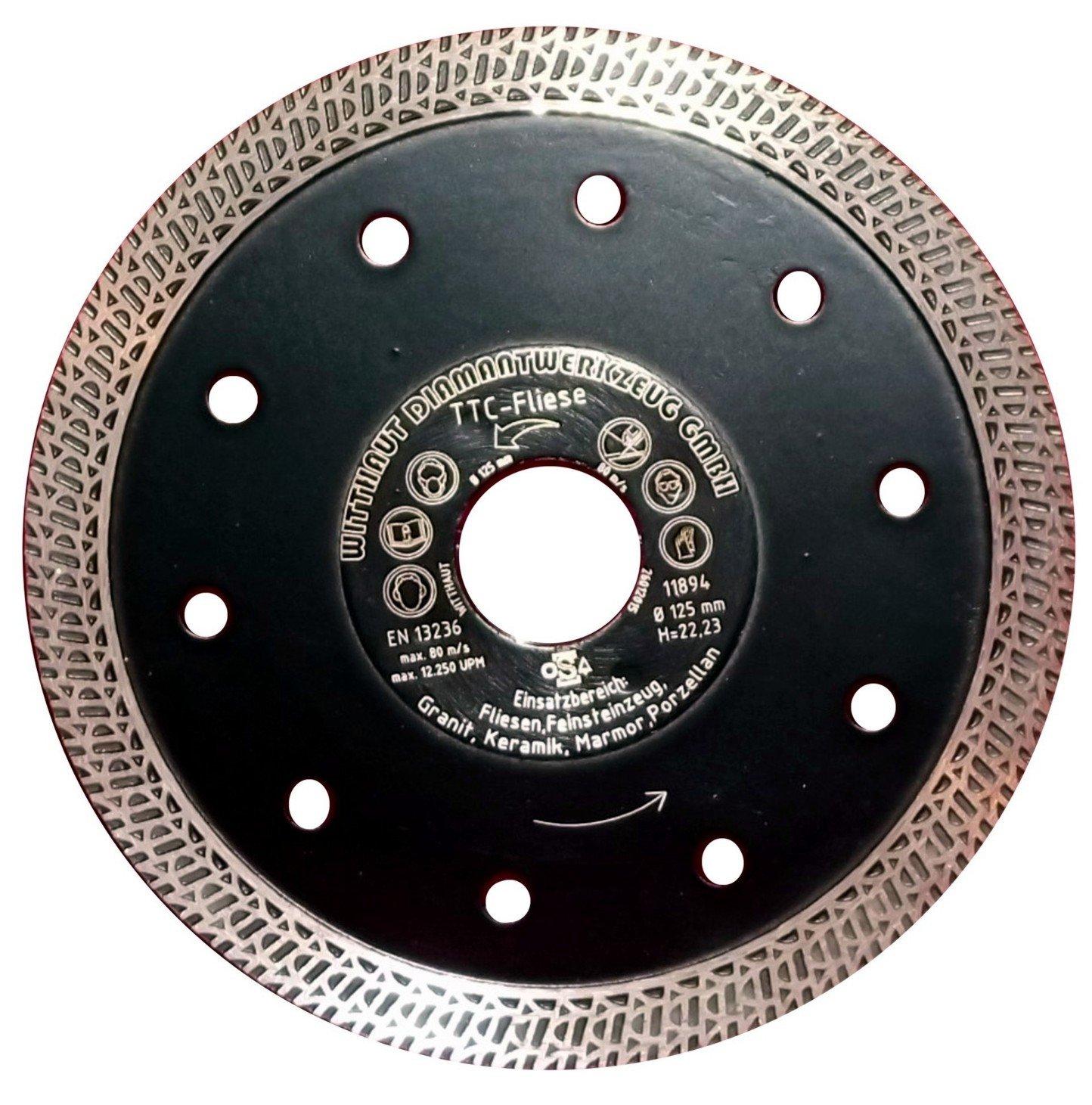 WITTHAUT Diamantwerkzeug///à tron/çonner pour carrelage et gr/ès c/érame 125 mm noir TTC-pav/é
