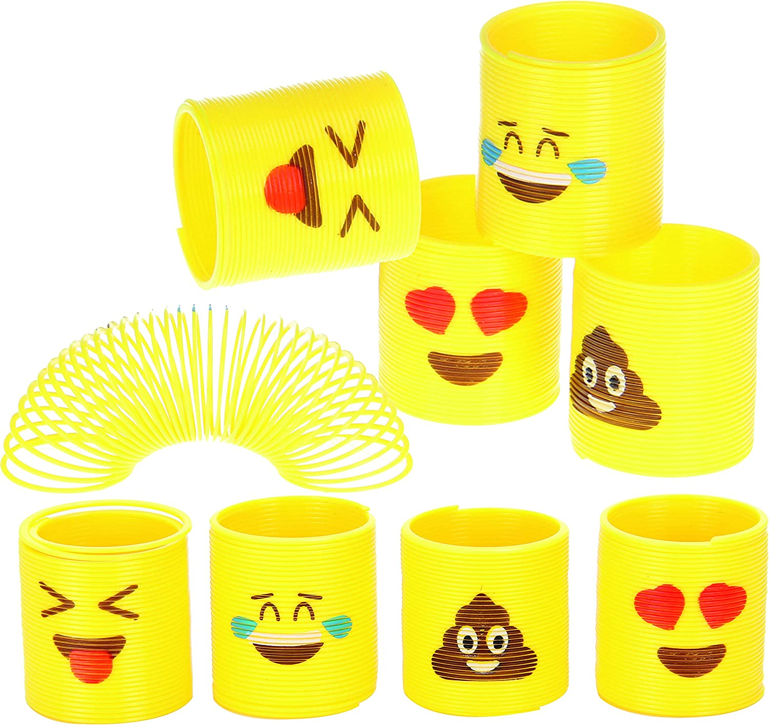 Totem World 24 Assorted Miniature Coil Emoji Springs - Multiple Faces - Perfect Size Kids - Bright Colors Durable Designs - Awesome As Birthday Party Favors, Easter Piñata Fillers Stocking Stuffers