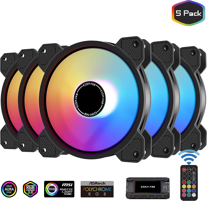 EZDIY-FAB 120mm ARGB Caso Ventilador,Placa Base Aura Sync Ventilador,Alto Flujo de Aire,Ventilador RGB Direccionable con 10-Port Fan Hub X y Remote-5 Pack