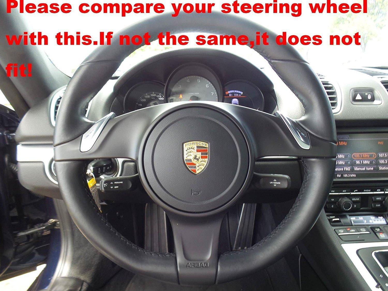 Piel auténtica Funda para volante para Porsche 911/Porsche Boxster/Porsche Cayenne/Porsche Panamera/Porsche Caimán: Amazon.es: Coche y moto