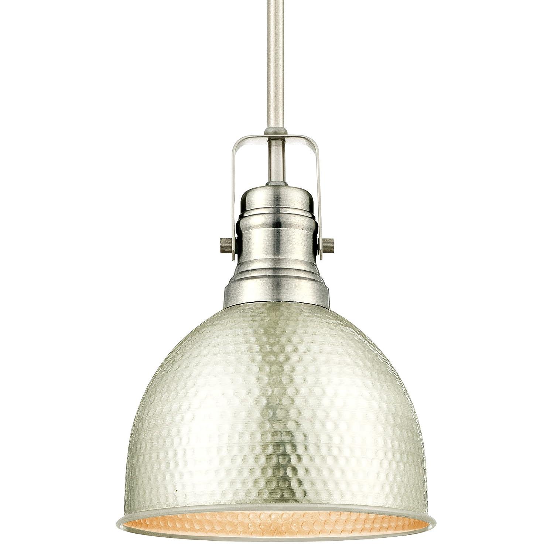 Westinghouse Lighting 6345500 One-Light Mini Pendant Hammered Brushed Nickel Finish,