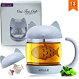 Brulé Premium Cute Cat Glass Tea Cup Infuser Mug + Strainer and Lid - Travel Loose Leaf Filter Brewing & Steeping Cup - PERFECT Bottle for Office Use & on the Go! - BONUS Green Tea Recipe Included!