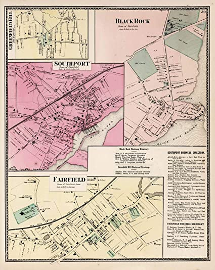 Amazon.com: Historic Map | Greenfield Hill. Southport. Black Rock ...