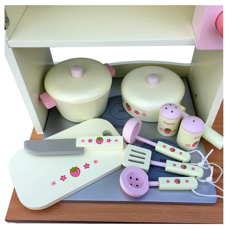 Vintage Kinderküche Spielküche Aus Holz CREME Mit Zubehör Kinderspielküche  Komplett 97 Cm X 70 Cm X 35 Cm: Amazon.de: Spielzeug