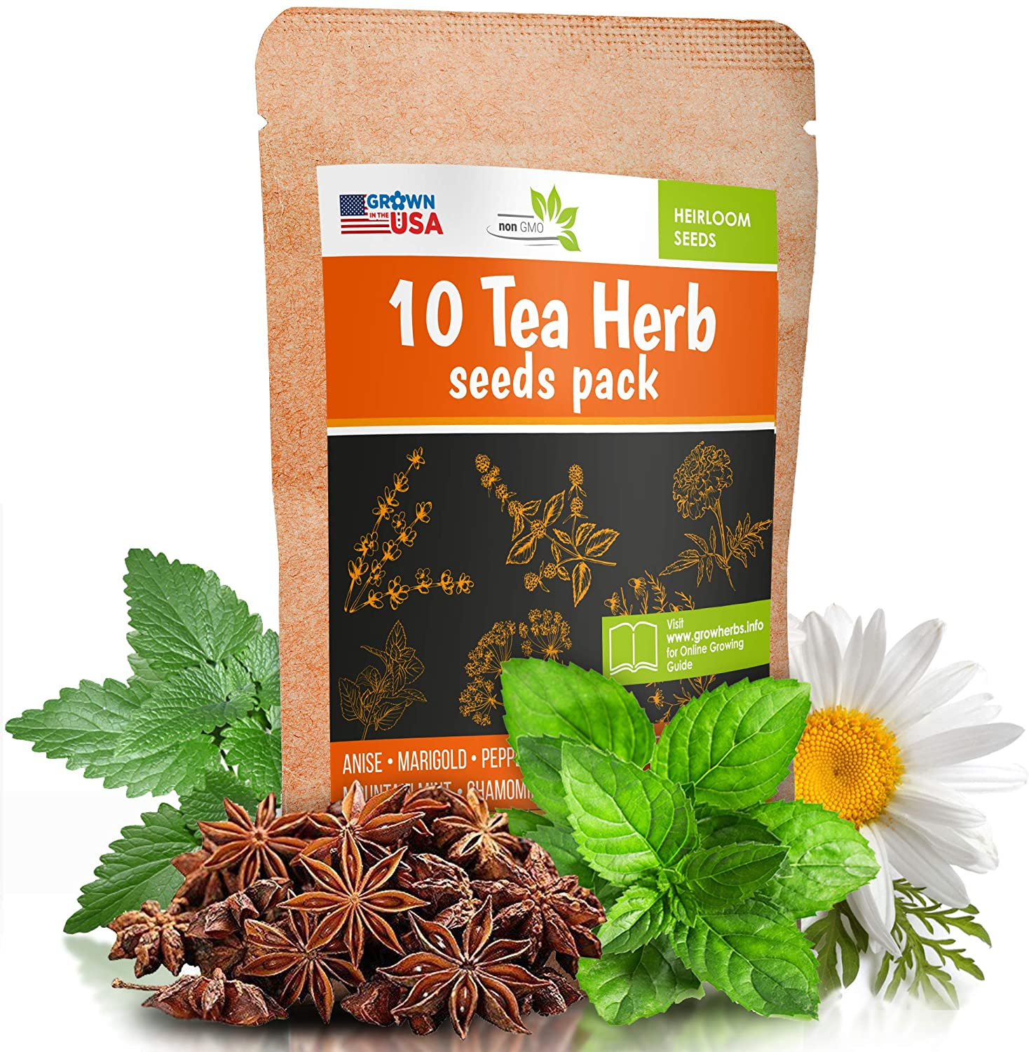 10 Herbal and Medical Tea Seeds Pack - Heirloom and Non GMO, Grown in USA - Indoor or Outdoor Garden - Chamomile, Lavender, Mint, Lemon Balm, Catnip, Peppermint, Anise, Coneflower Echinacea & More