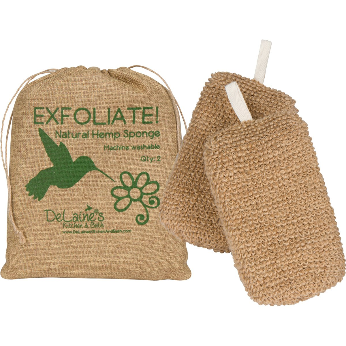 Amazon.com: DeLaine\'s Exfoliating Body Scrubber - Natural Hemp ...