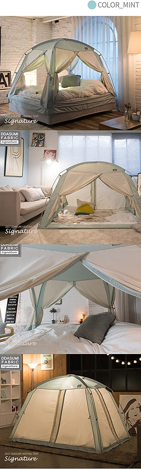Cotton Feeling Prevent Coldness Double Bed, Mint - 4Doors Signature Indoor Tent Play Tent DDASUMI Fabric