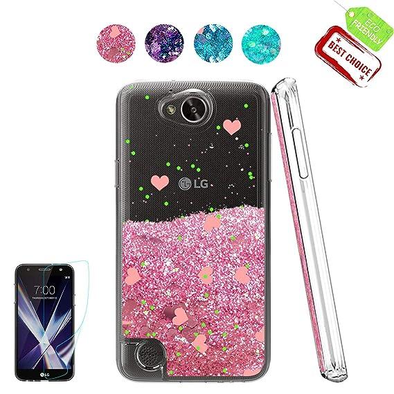 newest 7a2b7 762d2 LG X Power 2 Case,LG X Charge Case,LG Fiesta LTE Case,LG K10 Power  Case,Atump[Cute][Girl][HD Screen Protector] Shiny Glitter Moving Liquid  Clear TPU ...