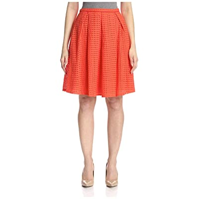 dRA Women's Serafina Perforated Skirt, Coral, L at Women's Clothing store