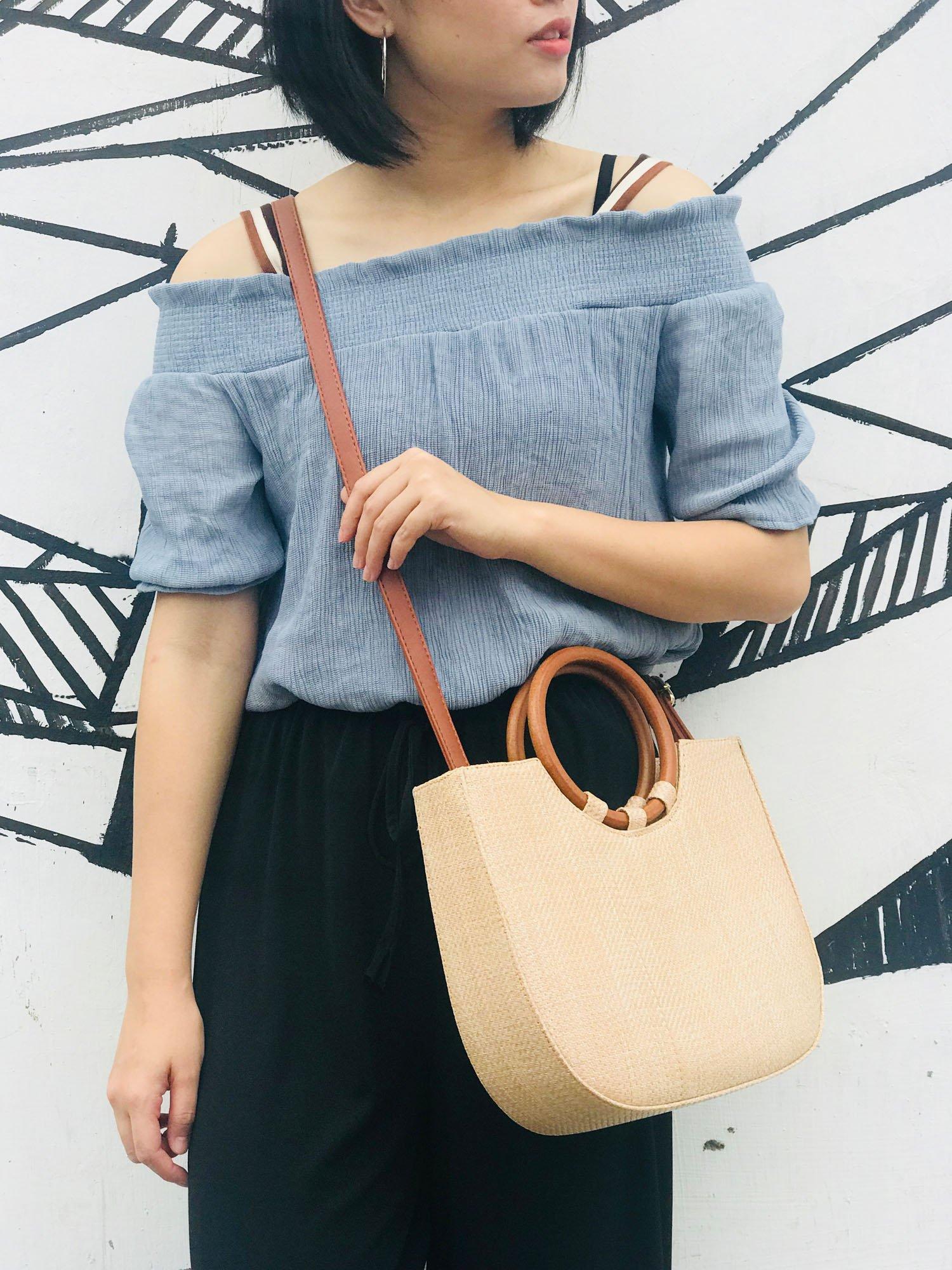 Youndcc Women Woven Straw Bag Rattan Bag Tote Bag Shoulder Bag Crossbody Bag Handbag Beach Bag, Handwoven/Crochet/Round Handle by Youndcc (Image #5)