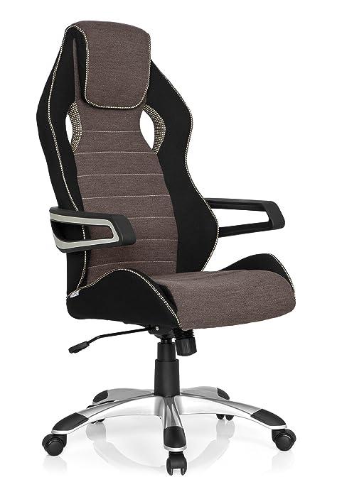 hjh OFFICE RACER PRO III - Silla gaming o de oficina, tejido negro, gris y beige