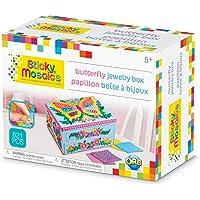Orb Factory Sticky Mosaics Butterfly Jewelry Box, Blue/Pink/Purple/Yellow, 8.26 x 4.37 x 6.37