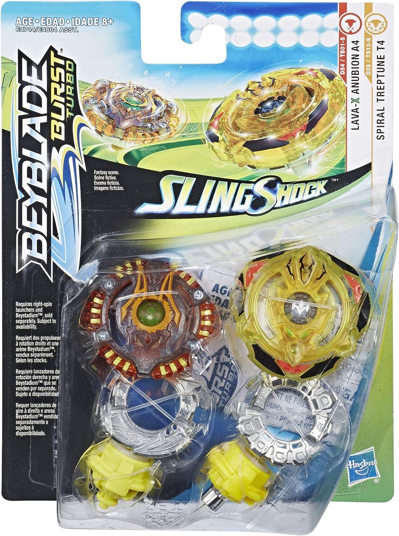 Beyblade Burst Turbo Slingshock Dual Pack Spiral Treptune T4 Lava-X Anubion A4